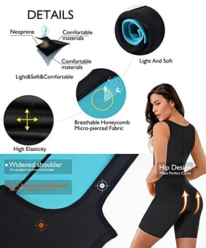 RIBIKA Neoprene Sauna Suit for Women Full Body Shaper Compression Slimming Shapewear Sweat Bodysuit 2