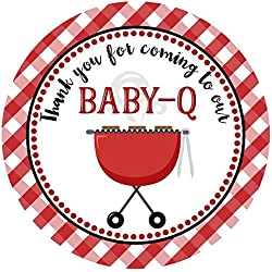 Baby Q Sticker Labels - Co-Ed Baby Shower for Couples - Coed Party for Mom and Dad - Set of 30