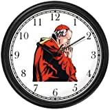 Pope, Cardinal or Priest in Prayer - Christian Theme Wall Clock by WatchBuddy Timepieces (Black Frame)