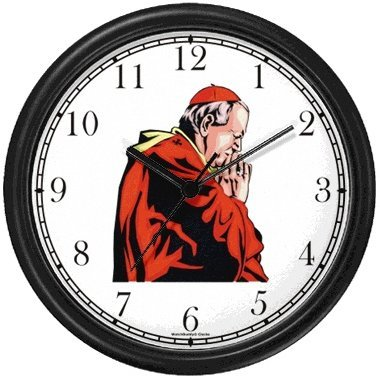 Pope, Cardinal or Priest in Prayer - Christian Theme Wall Clock by WatchBuddy Timepieces (Black Frame) by WatchBuddy