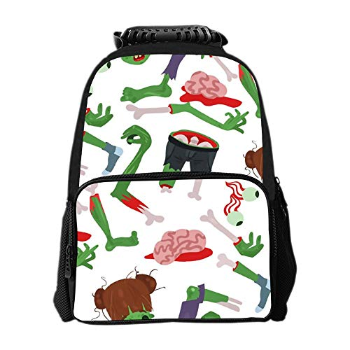SARA NELL School Backpack Colorful Zombie Scary Cartoon Halloween Magic Backpack for Kids School Bag Lightweight Student Bookbags for Boys Girls -