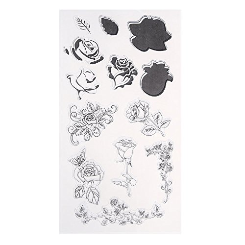 Rose Flower Style Rubber Clear Stamp DIY Transparent Silicone Seals Stamping Scrapbooking Photo Album Decorative (Acrylic Embosser)