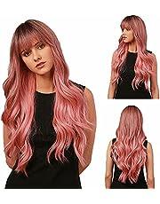 YXSHZ Ombre rosa peruk med svarta hårrötter långa lockiga fluffiga luftlugg lätt naturlig våg syntetisk peruk för kvinnor