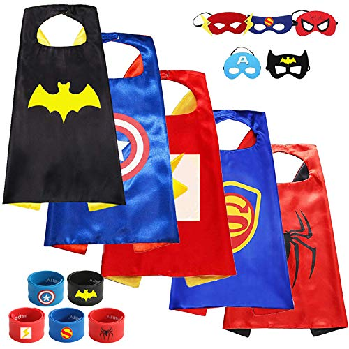 (Munfa 5 Different Superheros Capes and Mask Costumes Set Matching Slap Bracelet for Kids Boys & Girls Birthday Party Supplies)