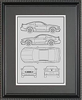 Amazon ford mustang blueprint collection print car art gift ford mustang blueprint framed car art gift choose your model 11x14 malvernweather Choice Image