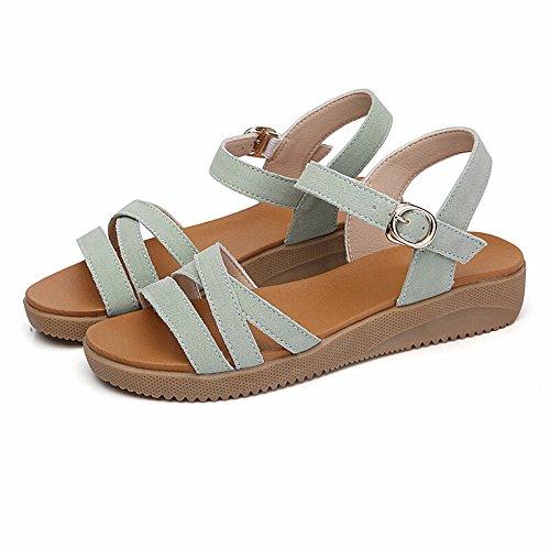 No. 55 Shoes Le Donne 's Donne Incinte' s Scarpe Non - Slip in Pelle Punta esposta Tacco Piatto Piatto Scarpe,US5.5/EUUS6/EU36/UK4/CN36/UK3.5/CN35,Verde