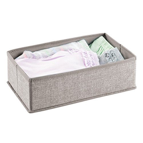 mDesign Soft Fabric Dresser Drawer and Closet Storage Organizer Set for Child/Baby Room, Nursery, Playroom, Bedroom – Rectangular Organizer Bins with Textured Print - - Comb 4in Grooming 1