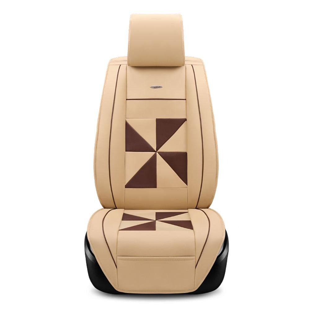 CAR Automotive Seat Covers For universal Car Seat Covers Leather Polyester , Rice coffee color