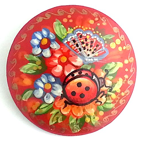 Flower Brooch Signed - Russian hand painted Pin Brooch Ladybug Flowers Butterfly, Signed