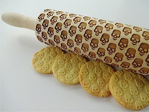 SKULLS Embossing Rolling pin. Engraved rolling pin with skulls. Embossed cookies with sugar skulls. Dead's head. Halloween cookies. Spooky