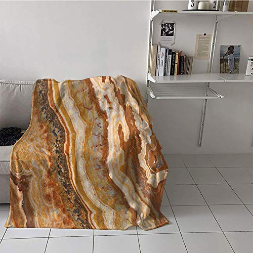 Khaki home Children's Blanket Casual Plush Throw Blanket (50 by 60 Inch,Marble,Onyx Marble Motif Travertine Mineral Formed Watercolor Ink Textured ()