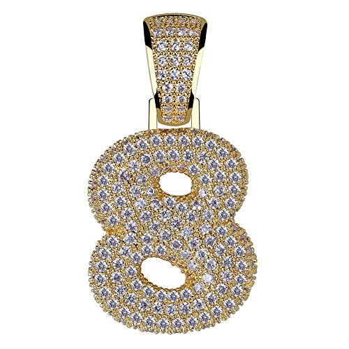 HECHUANG Gold Plated Micropave Iced Out Bling 0, 1, 2, 3, 4, 5, 6, 7, 8, 9 Number Pendant Rope Chain Necklace (8 Gold, 24)