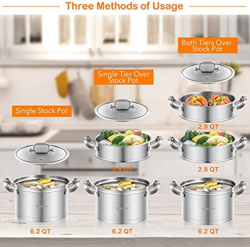 COSTWAY 3-Tier Stainless Steel Steamer for Cooking, Boiler Pot with Handles on Both Sides, Transparent Tempered Glass Lid, Free Combination Design, for Induction, Radiant-Tube Furnace    Product Description