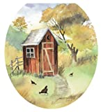 Toilet Tattoos TT-JK01-R Outhouse Watercolor Decorative Applique for Toilet Lid, Round