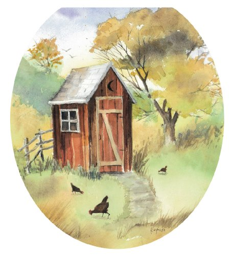Toilet Tattoos TT-JK01-R Outhouse Watercolor Decorative Applique for Toilet Lid, Round by Toilet Tattoos