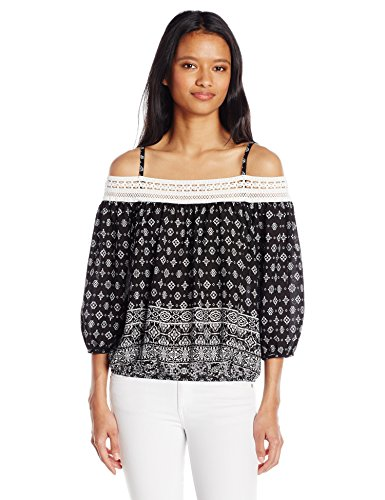 A. Byer Junior's Young Women's Teen Off The Shoulder Bubble Hem Top with Crochet Trim, Black Ivory Print, S