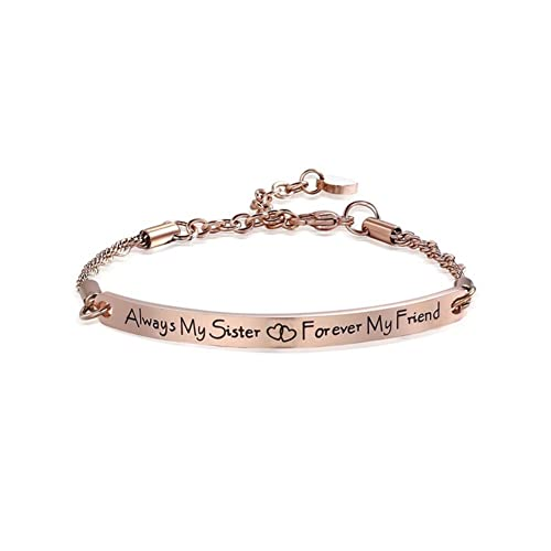 YIENMALI Sister Bracelet Always My Forever Friend Engraved Friendship Gift