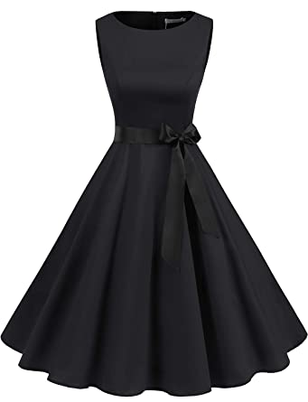 1a82394137 Gardenwed Women s Audrey Hepburn Rockabilly Vintage Dress 1950s Retro  Cocktail Swing Party Dress Black XS