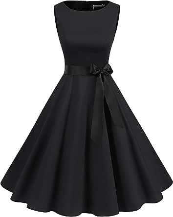 Elegant Hepburn Dress,Womens Vintage 1950s Sleeveless Printed Cocktail Party Dress Tie Waist Evening Prom Dress