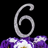 kitchen 67 specials LOVENJOY with Gift Box Number 6 6th Sparkly Crystal Rhinestone Happy Wedding Anniversary Birthday Cake Toppers Silver (2.8-inch)