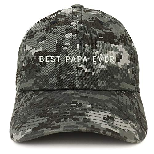- Trendy Apparel Shop Best Papa Ever One Line Embroidered Soft Crown 100% Brushed Cotton Cap - Digital Night CAMO