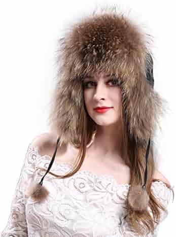 70f3d8ff27b LITHER Women s Winter Trapper Hat Genuine Fox Raccoon Fur Russian Ushanka  Hat