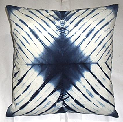 Amazon Com Shibori Pillowcases Tie Dye Cushion Cover 16x16 Indigo