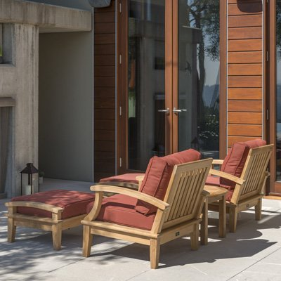 Regency Teak Sonoma Deep Seating 3 Piece Arm Chair Set Dupione Henna (Deep Teak Seating Set)