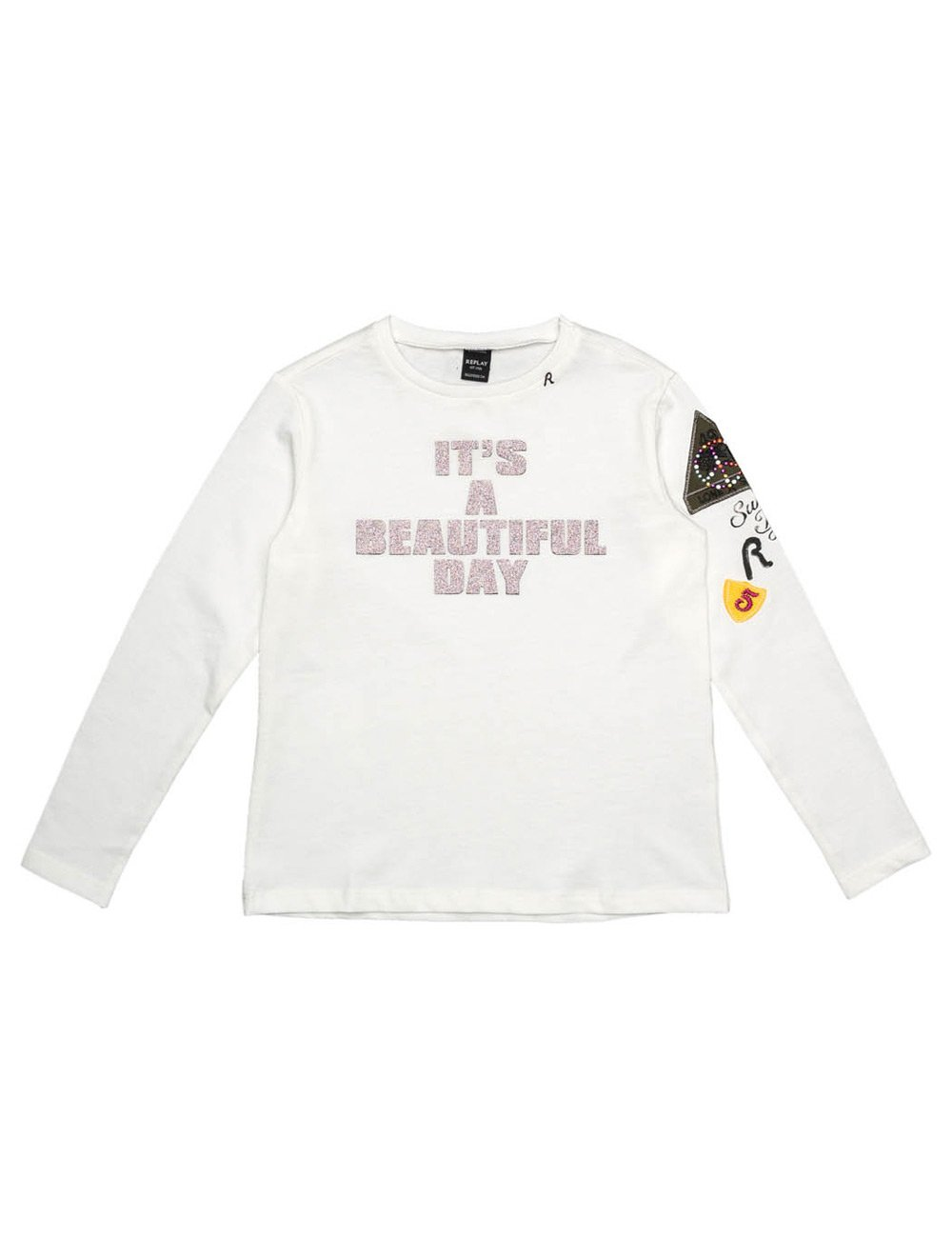 Replay Girls Longsleeved White T-Shirt With Prints in Size 14 Years White