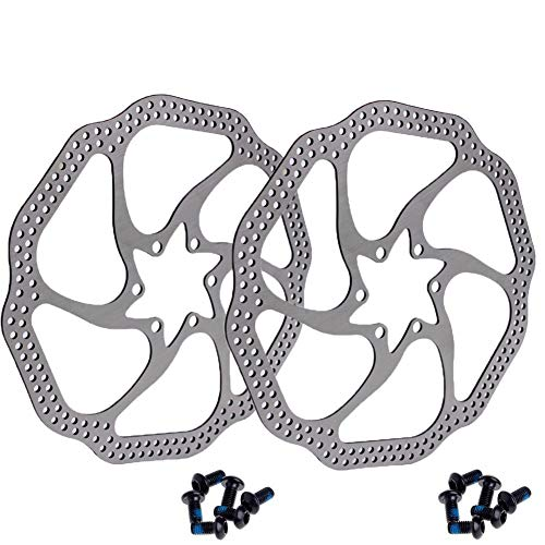- 160mm Disc Brake Rotor with 6 Bolts Stainless Steel Bicycle Rotors Fit for Road Bike, Mountain Bike, MTB, BMX (Stainless Steel, 2pcs)