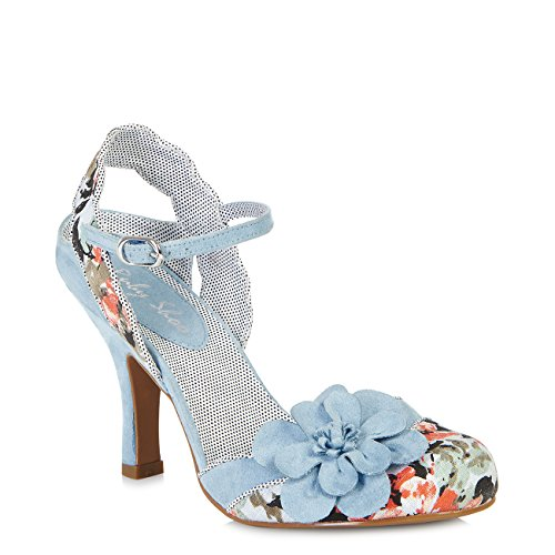 Polka Dot Fabric Flats - Ruby Shoo Women's Sky Blue Floral Heidi Fabric Slingback Pumps UK 6 EU 39