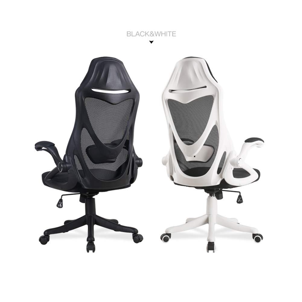 GLMAS Stolar, kontorsstolar, fåtöljer, kontorsstol datorstol verkställande spelstol, andningsbar nätduk lyft armstöd nylon fot tyst PU-hjul kan höjas och sänkt vitt Svart