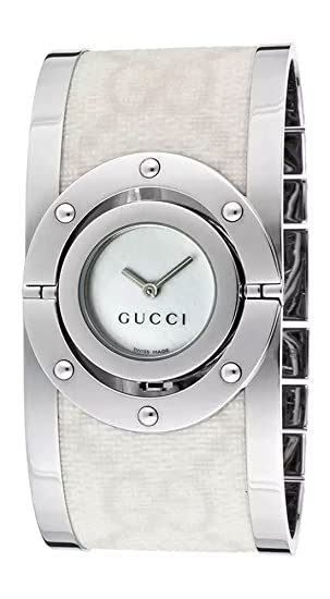 34a881bb5a8 Gucci 112 Twirl Stainless Steel Womens Ivory Bangle Watch Mother of Pearl  Dial YA112419  Amazon.ca  Watches