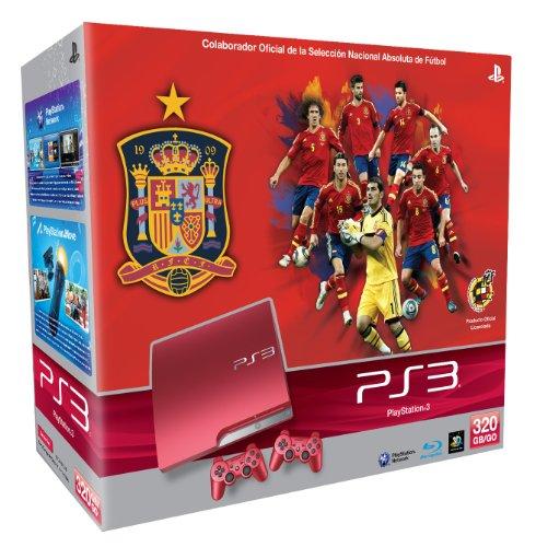 Playstation 3 – Consola de 320 GB Spanish Football Team, Roja + 2 Mandos Dualshock, Color Rojo