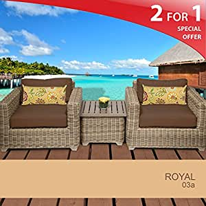 Royal 3 Piece Outdoor Wicker Patio Furniture Set - Cocoa 03A 2 Yr Fade Warranty
