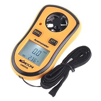 Digital de bolsillo Anemómetro medidor de la velocidad viento termómetro