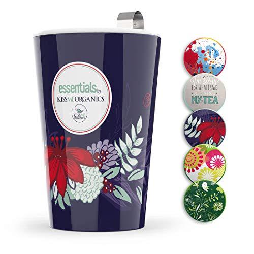 Steep & Strain Ceramic Tea Mug - Insulated Cup with Tea Infuser and Lid - Purple Floral by Kiss Me Organics