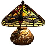 River of Goods Tiffany Style Stained Glass Mini Dragonfly Table Lamp with Mosaic Base - 10-Inch - Yellow Green