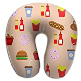 Gtrgh Food Restaurant Super U Type Pillow Neck Pillow Outdoor Travel Pillow Relief Neck Pain