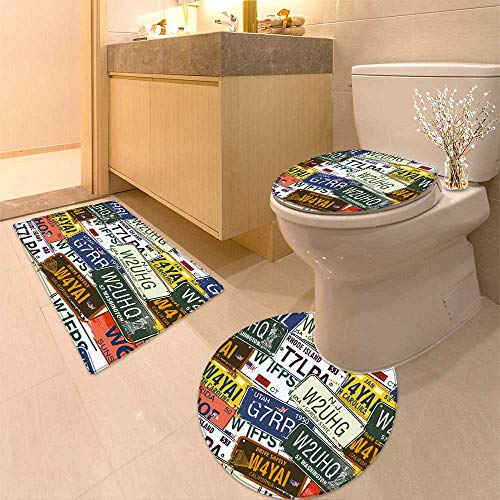 HuaWuhome 3 Piece Extended Bath mat Set Collection of car Number Plates in The Outer of a bar in Bandera Texas Widen