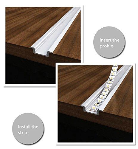 Aluminum Channel - LED Aluminum Extrusion 4101-100 U-shape for Flex/hard LED Strip Light White/milk Cover by Outline (Image #3)