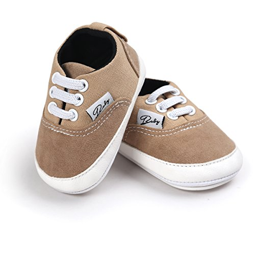 RVROVIC Baby Boys Girls Shoes Canvas Toddler Sneakers Anti-Slip Infant First Walkers 0-18 Months (12cm (6-12months), Khaki)