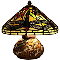 River of Goods Tiffany Style Stained Glass Mini Dragonfly Table Lamp with Mosaic Base, 10-Inch, Yellow/Green