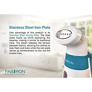 Clothes Iron Steamer by Fabiron Powerful Aluminum Safety Heating Handheld Portable Travel Steamer for Delicate Fashion Garment Dress Suit, New Small Lightweight Home Style Design Easy Use Storage
