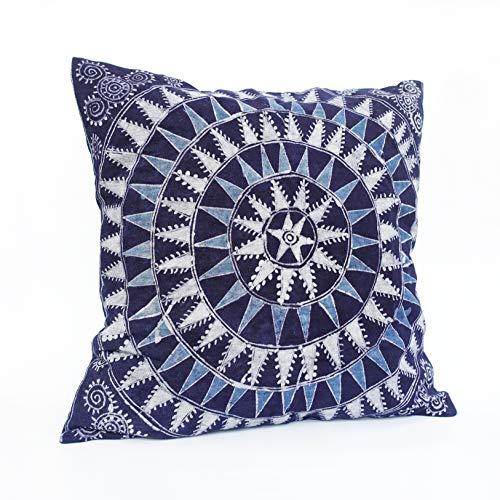 Dyed Batik - Boho Mudcloth Pillow Cover  Indigo Natural Plant Dyed   Batik Design Handmade Beeswax Painting   Decorative Throw Pillows for Mid Century Farmhouse Vintage Cotton Cushion Cover 18