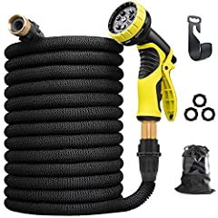 Aterod 75 feet Water Hose Expandable Garden Hose, Flexible and Expanding Latex Water Hose with All Brass Connectors, 9 Patterns of High Pressure Spray Nozzle No Kink Tangle for Home, Garden, Car Washing and Heavy Duty machine.