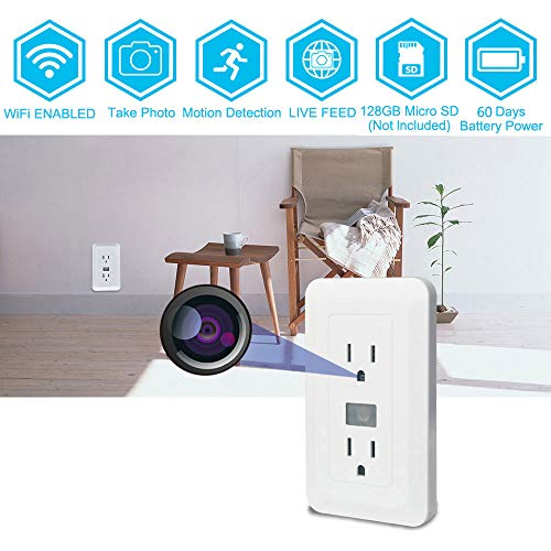 Wi-Fi Electrical Wall Outlet Spy Hidden Camera -BSTCAM Wall Outlet 720P Live Video Wi-Fi hidden Camera 60 days standby Self Loop Record Nanny Home Security Video Recorder Camera (Video Outlet)
