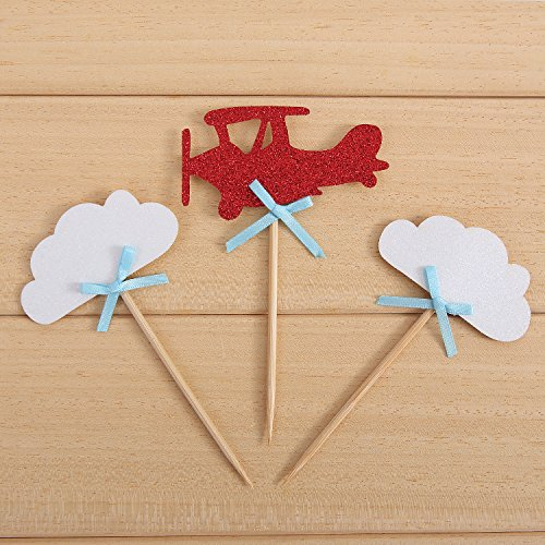 24 Pack Cloud and Airplane Cupcake Toppers Up Up Kids' Party