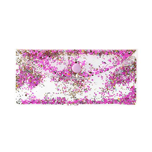 (Leewa Women Clear Pouch Squins Buckle Transparent Wallet Phone Bag Cosmetic Bag Travel (Multicolor))