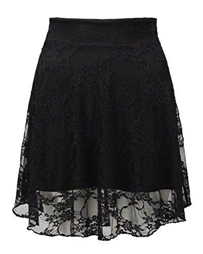 Unie pour femme grande taille en dentelle avec Mini-jupe Patineuse Motif Floral Noir - Black-Skirt
